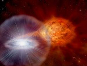 Recreación artística de un sistema binario similar al que ha producido la nova Sagittarii 2015 N.2