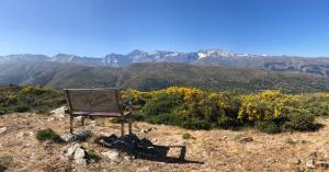 Banco en el Collado del Alguacil, con una impresionante vista de las cumbres de Sierra Nevada.