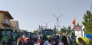 Tractores durante la manifestación de protesta.