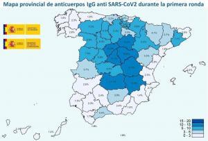 Mapa con el avance del estudio de seroprevalencia por provincias.