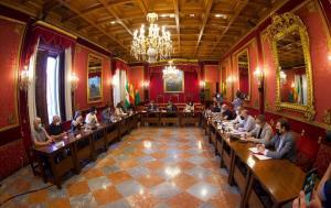 Imagen de la reunión de la Mesa del Ferrocarril en el Ayuntamiento de Granada.