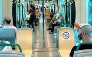 Interior de un vagón del Metro de Granada.