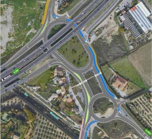 Nueva rotonda prevista en el acceso a La Zubia junto a la Ronda Sur.