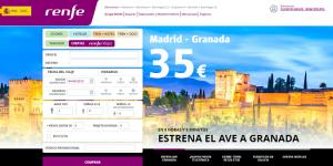 Promoción de Granada en la web de Renfe.