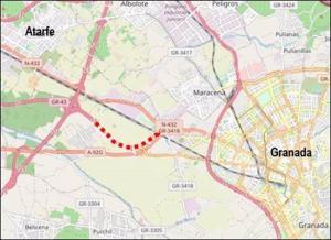 Plano del proyecto de obras de la autovía GR-43 para el acceso a Granada por la N-432.
