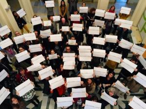 Protesta de los trabajadores de la Escuela Andaluza de Salud Pública, en febrero de 2020.
