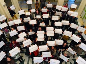 Una de las movilizaciones de los trabajadores de la EASP en febrero pasado.