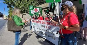 Protesta frente a la sede de la Junta, este jueves.