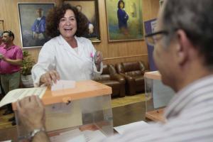 Pilar Aranda ha votado en la Facultad de Farmacia.