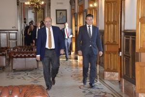 Luis Salvador y Sebastián Pérez, este jueves, al dirigirse a la rueda de prensa en la que han hecho balance.