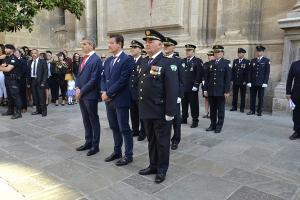 El alcalde y el edil de Seguridad Ciudadana con la cúpula policial el día del patrón.