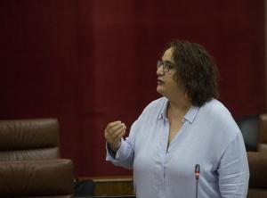 La portavoz adjunta del grupo parlamentario Adelante Andalucía, Ángela Aguilera, en una foto de archivo en el Pleno del Parlamento.