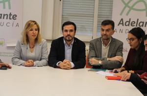 Alberto Garzón y Antonio Maíllo han acompañado este lunes a Carmen Lizárraga.