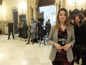 Ana Terrón tras una de las reuniones de la comisión de seguimiento del AVE.