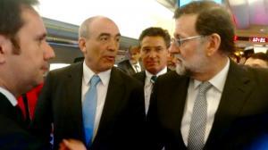 Luis Salvador, con Mariano Rajoy Manuel Niño, en el viaje del AVE que ha conmemorado el 25 aniversario de la Alta Velocidad en España.