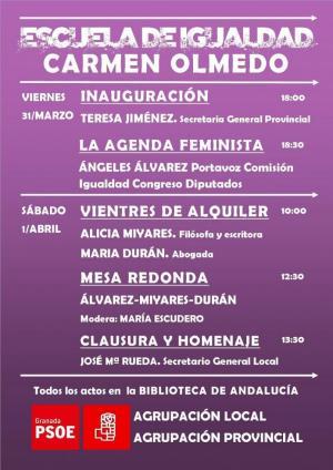 Cartel de la Escuela de Igualdad Carmen Olmedo.