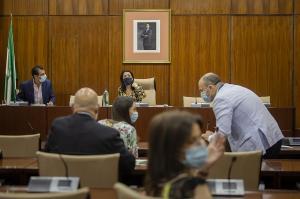 La presidenta del Parlamento, en la constitución de la comisión.