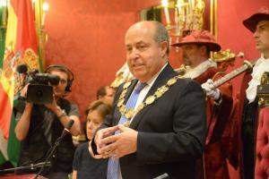 Torres Hurtado durante su intervención tras ser investido alcalde.