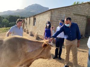 Francisco Rodríguez con Pablo Hispán y Antonio Narváez, en su visita a una explotación ganadera.