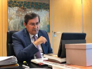 José Entrena, en una reunión telemática durante el estado de alarma.
