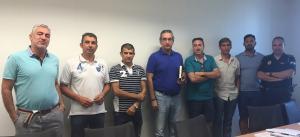 José Antonio Moreno (cuarto por la izquierda) con representantes de UGT, SIPLG, SIP-AN, y CSIF.