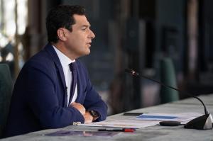 Juan Manuel Moreno, durante la videoconferencia con los alcaldes de las capitales.