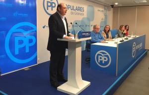 Sebastián Pérez, en una reunión de la junta directiva provincial del PP.