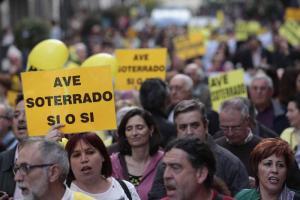 Una de las manifestaciones de la Marea Amarilla.
