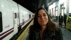 Marta Gutiérrez, este lunes en la estación de Granada.