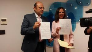 Sebastián Pérez y Rocío Díaz, este viernes en la sede del PP.