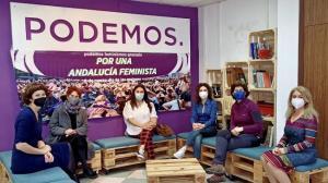 Concejalas de Podemos en el desayuno feminista celebrado este sábado.