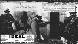Composición realizada con periódicos de 1933. La Vanguardia, ABC, El Defensor de Granada, Ideal.
