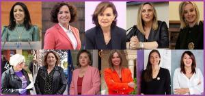 Marta Bosquet, Pilar Aranda, Carmen Calvo, Marifrán Carazo y Ana Tárrago. (Debajo y también de izquierda a derecha) Encarna Vargas, Mari Carmen Pérez, Sandra García, Rocío Díaz y Alejandra Durán.