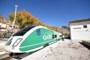 Imagen del tren laboratorio el pasado 1 de diciembre a su paso por Loja.