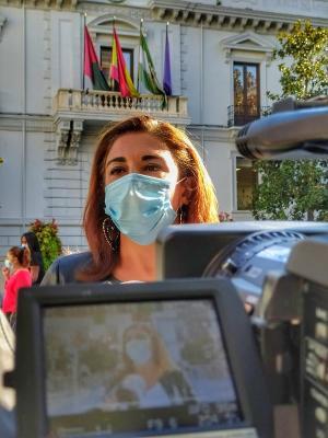 Raquel Ruz, este martes a las puertas del Ayuntamiento.