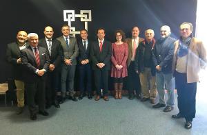 Manuel Olivares y Mar Sánchez con los representantes de la CGE, la Cámara de Comercio y la Federación de Comerciantes.