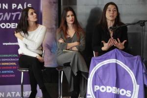 Marta Gutiérrez y Ana Terrón en un acto de Podemos con Rita Maestre.