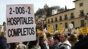 Una de las protestas para reclamar dos hospitales completos.