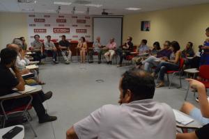Un momento del encuentro celebrado en la sede de CCOO.